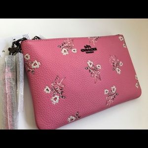NWT Coach Floral Bow Wristlet, Bright Pink